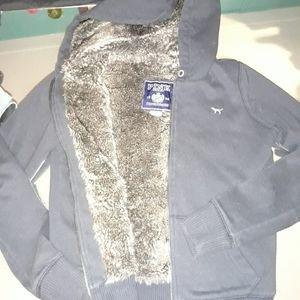 PINK fur lined zip up hoodie
